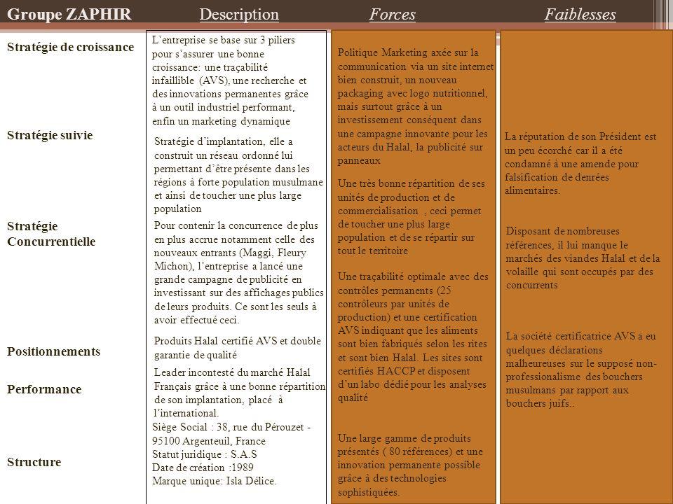 Groupe ZAPHIR Description Forces Faiblesses Stratégie de croissance