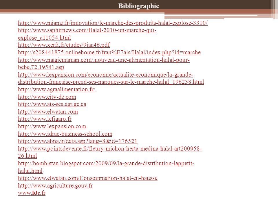 Bibliographie http://www.miamz.fr/innovation/le-marche-des-produits-halal-explose-3310/