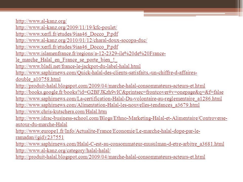 http://www.al-kanz.org/ http://www.al-kanz.org/2009/11/19/kfc-poulet/ http://www.xerfi.fr/etudes/9iaa46_Docco_P.pdf.
