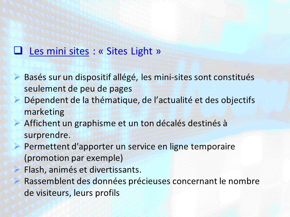 Les mini sites : « Sites Light »