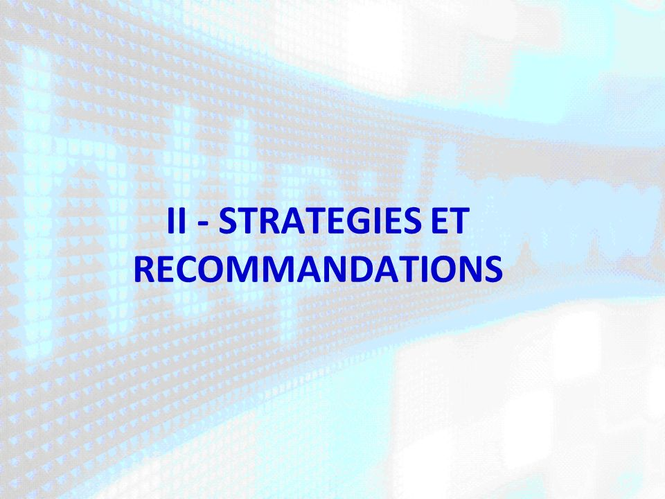II - STRATEGIES ET RECOMMANDATIONS