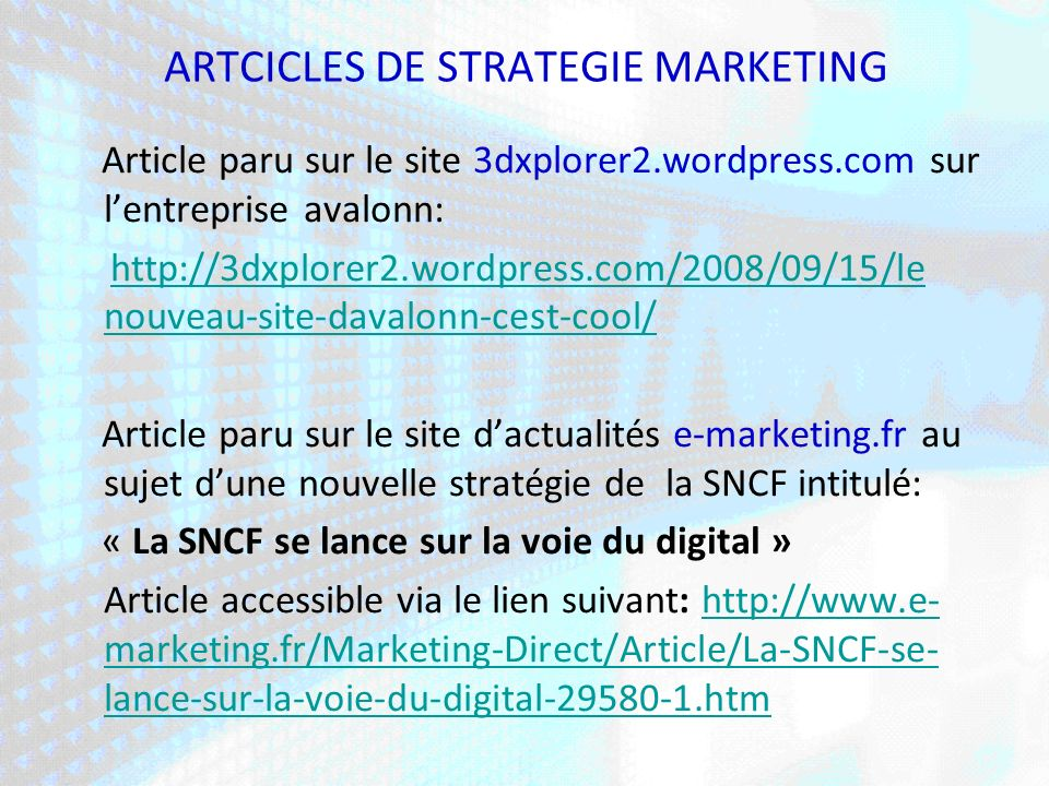 ARTCICLES DE STRATEGIE MARKETING