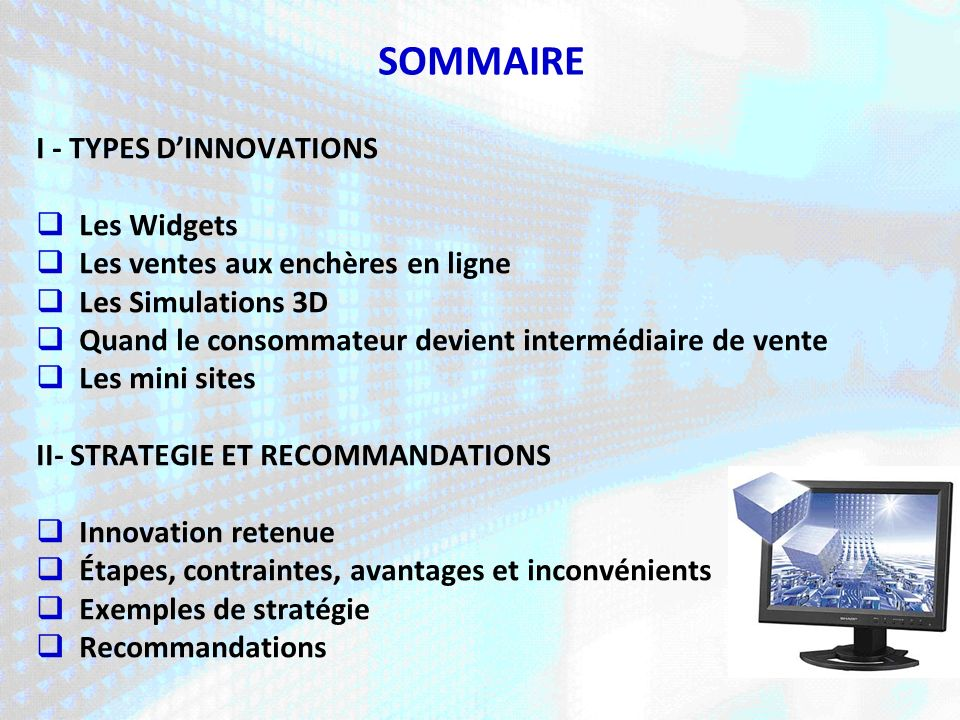 SOMMAIRE I - TYPES D'INNOVATIONS Les Widgets