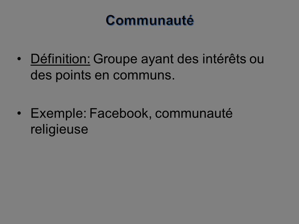 Communauté Définition: Groupe ayant des intérêts ou des points en communs.
