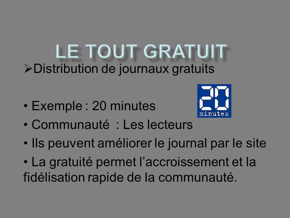 Le tout gratuit Distribution de journaux gratuits Exemple : 20 minutes