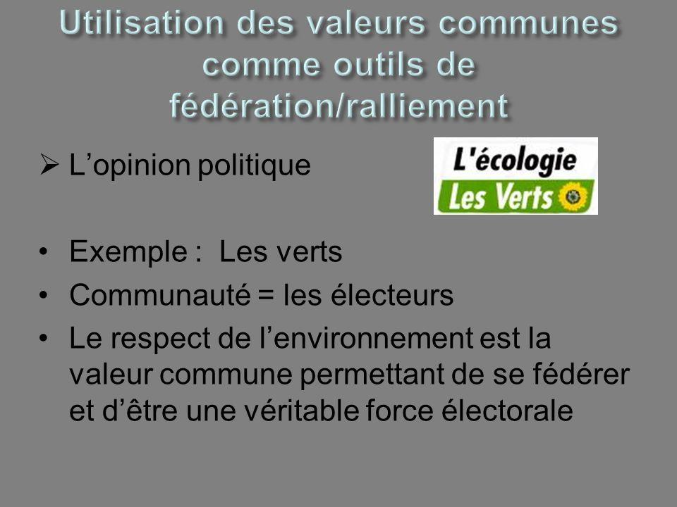 Utilisation des valeurs communes comme outils de fédération/ralliement