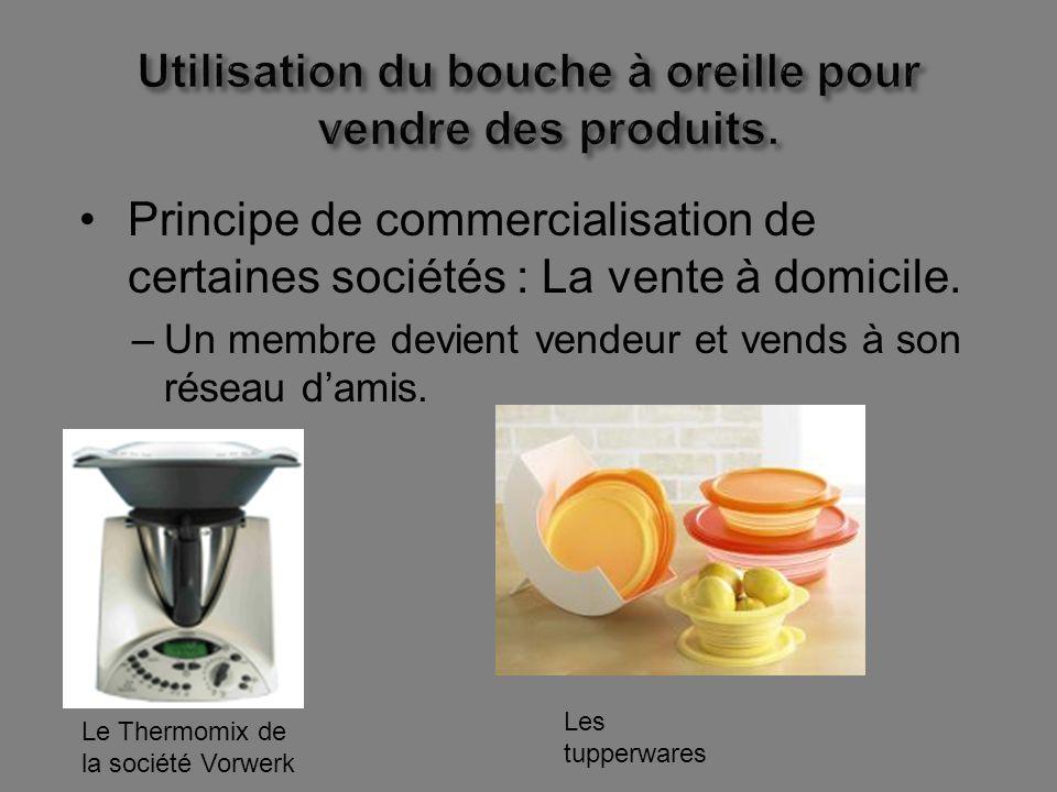 Utilisation du bouche à oreille pour vendre des produits.