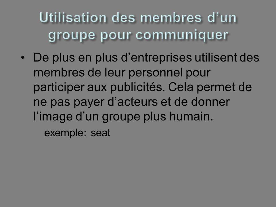 Utilisation des membres d'un groupe pour communiquer