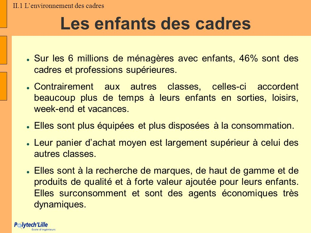 II.1 L'environnement des cadres
