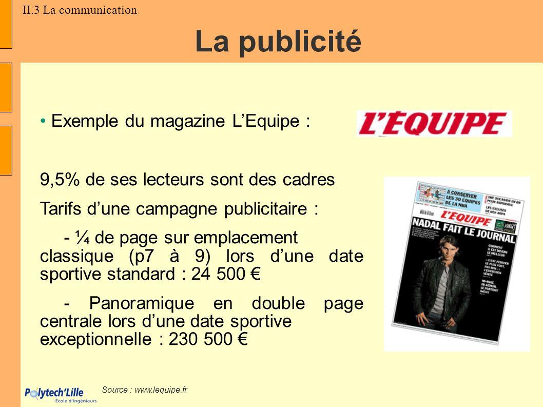 La publicité Exemple du magazine L'Equipe :