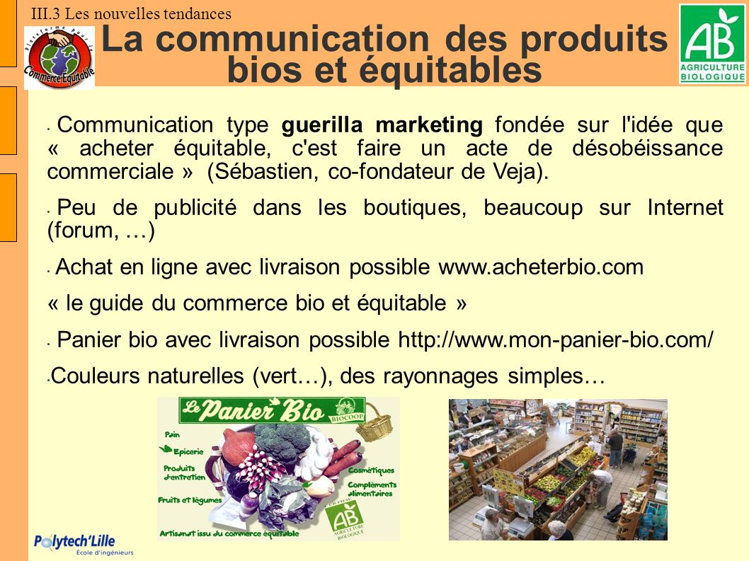 La communication des produits bios et équitables