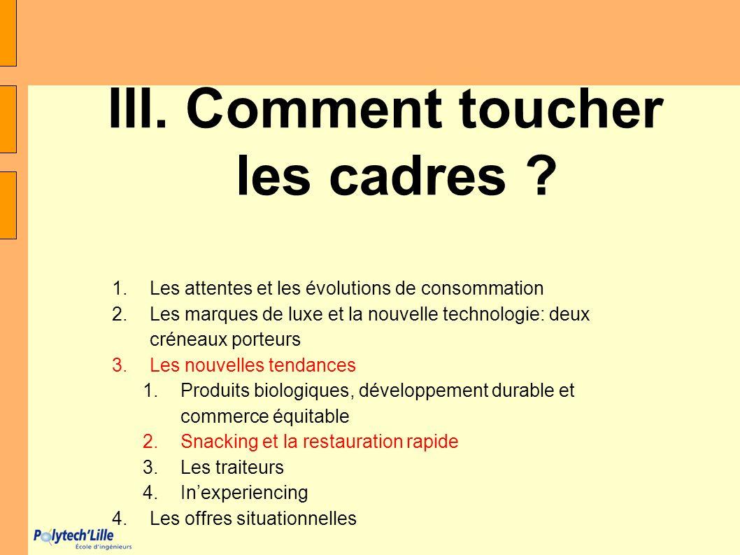III. Comment toucher les cadres