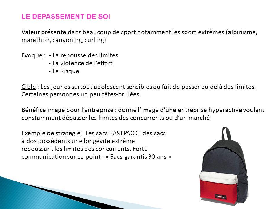 LE DEPASSEMENT DE SOI Valeur présente dans beaucoup de sport notamment les sport extrêmes (alpinisme, marathon, canyoning, curling)