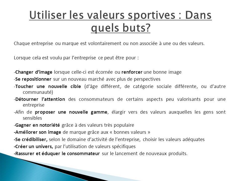 Utiliser les valeurs sportives : Dans quels buts