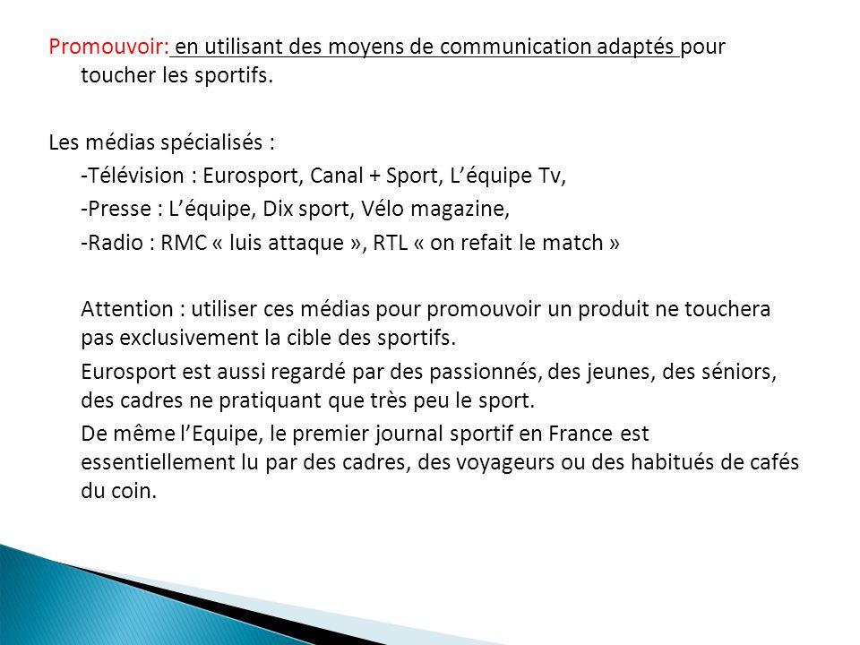 Promouvoir: en utilisant des moyens de communication adaptés pour toucher les sportifs.