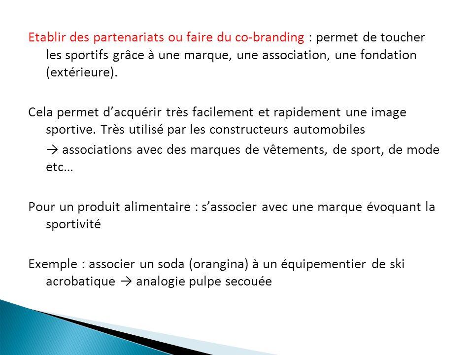 Etablir des partenariats ou faire du co-branding : permet de toucher les sportifs grâce à une marque, une association, une fondation (extérieure).
