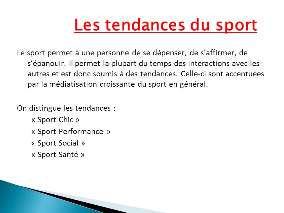 Les tendances du sport