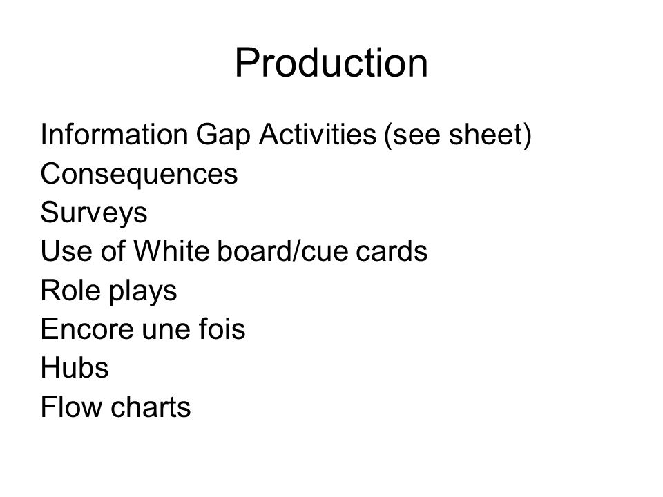 Production Information Gap Activities (see sheet) Consequences Surveys