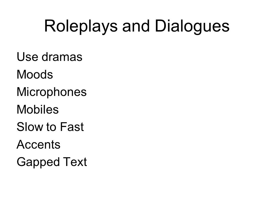 Roleplays and Dialogues