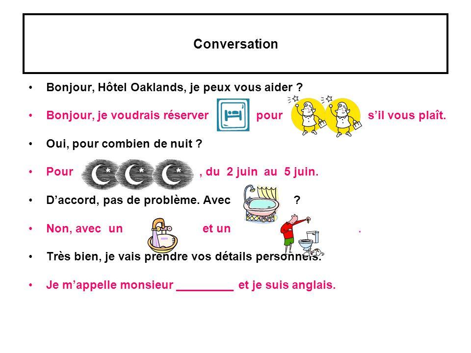 Conversation Bonjour, Hôtel Oaklands, je peux vous aider