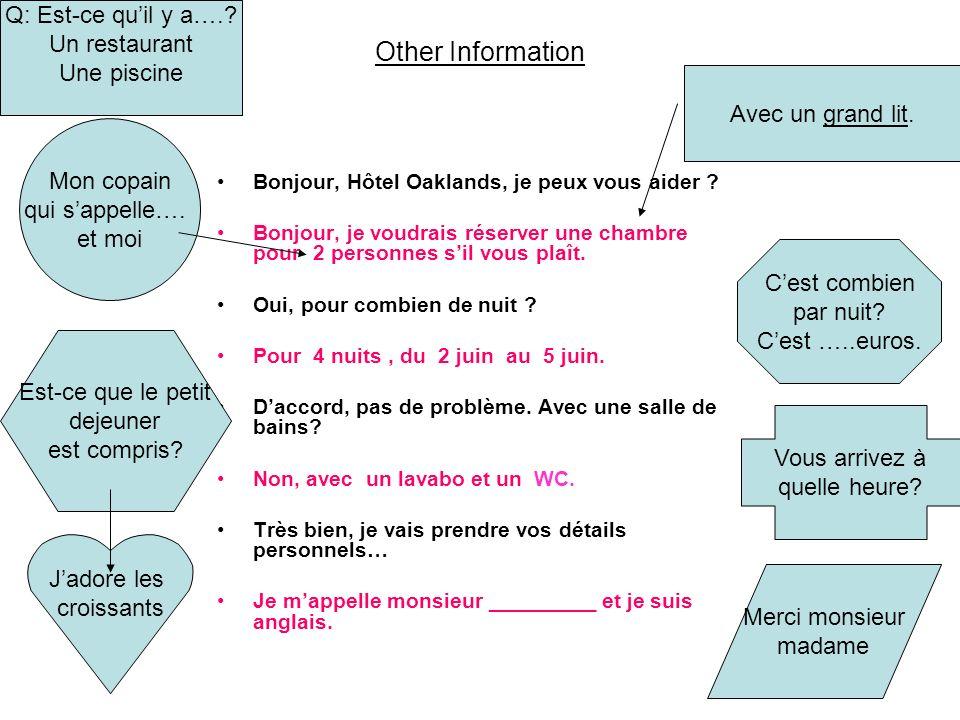 Other Information Q: Est-ce qu'il y a…. Un restaurant Une piscine
