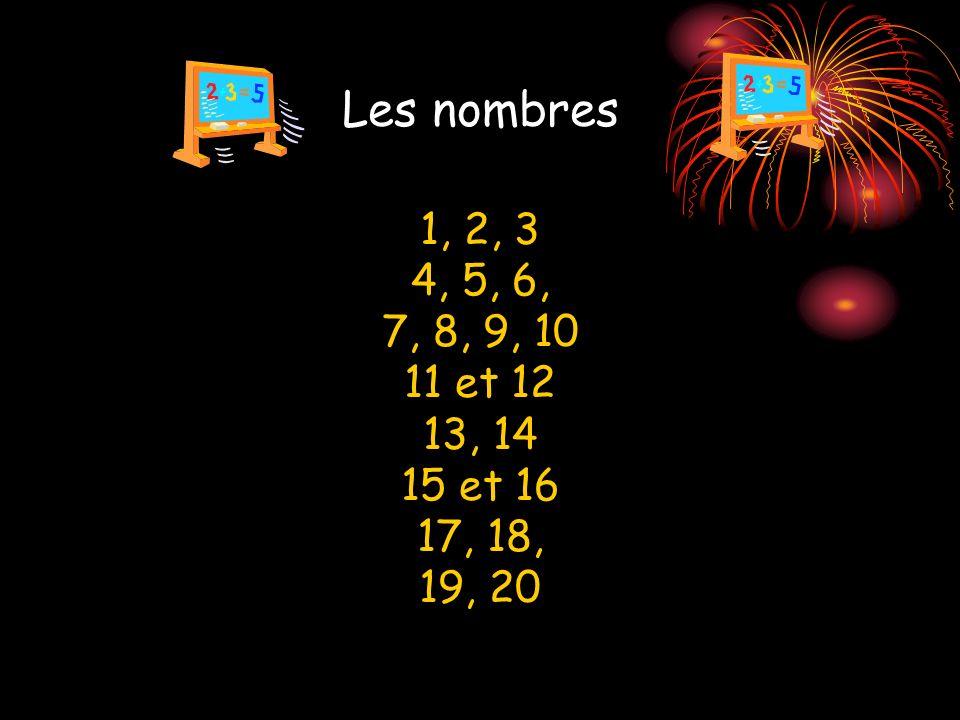 Les nombres 1, 2, 3 4, 5, 6, 7, 8, 9, 10 11 et 12 13, 14 15 et 16 17, 18, 19, 20