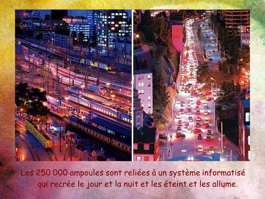 Les 250 000 ampoules sont reliées à un système informatisé qui recrée le jour et la nuit et les éteint et les allume.