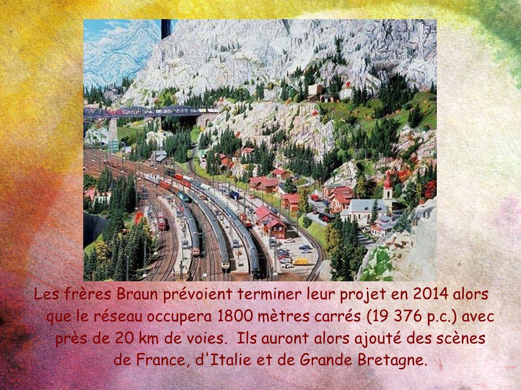 Les frères Braun prévoient terminer leur projet en 2014 alors que le réseau occupera 1800 mètres carrés (19 376 p.c.) avec près de 20 km de voies.