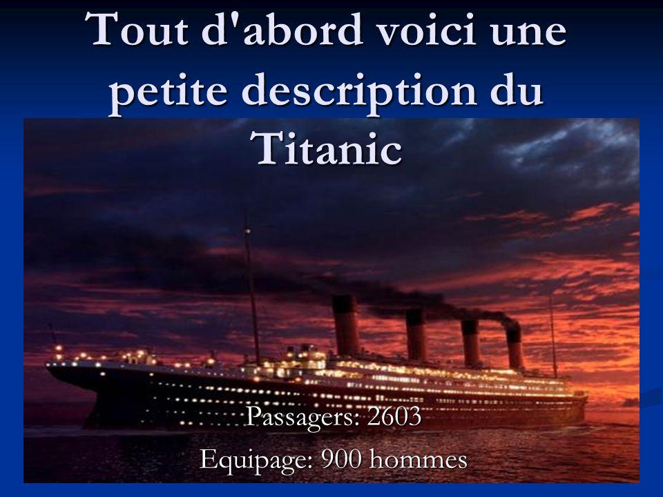 Tout d abord voici une petite description du Titanic
