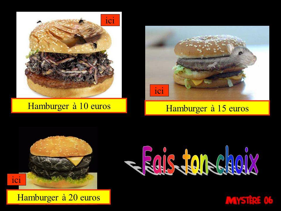 Fais ton choix ici ici Hamburger à 10 euros Hamburger à 15 euros ici