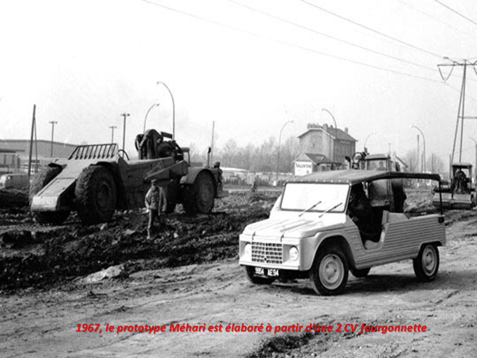 1967, le prototype Méhari est élaboré à partir d'une 2 CV fourgonnette