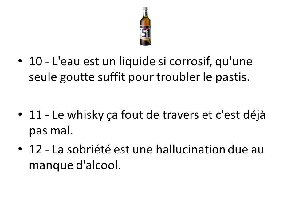 10 - L eau est un liquide si corrosif, qu une seule goutte suffit pour troubler le pastis.