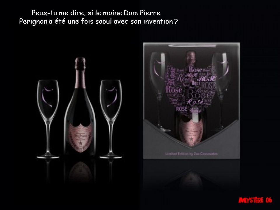 Peux-tu me dire, si le moine Dom Pierre Perignon a été une fois saoul avec son invention