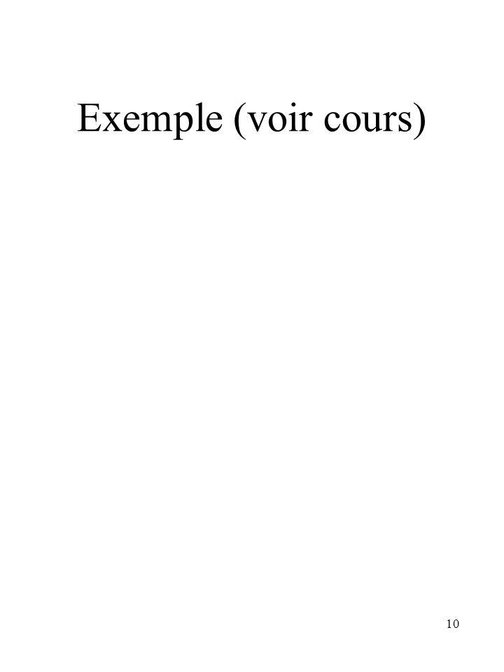 Exemple (voir cours)