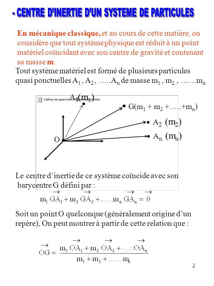 - CENTRE D'INERTIE D'UN SYSTEME DE PARTICULES