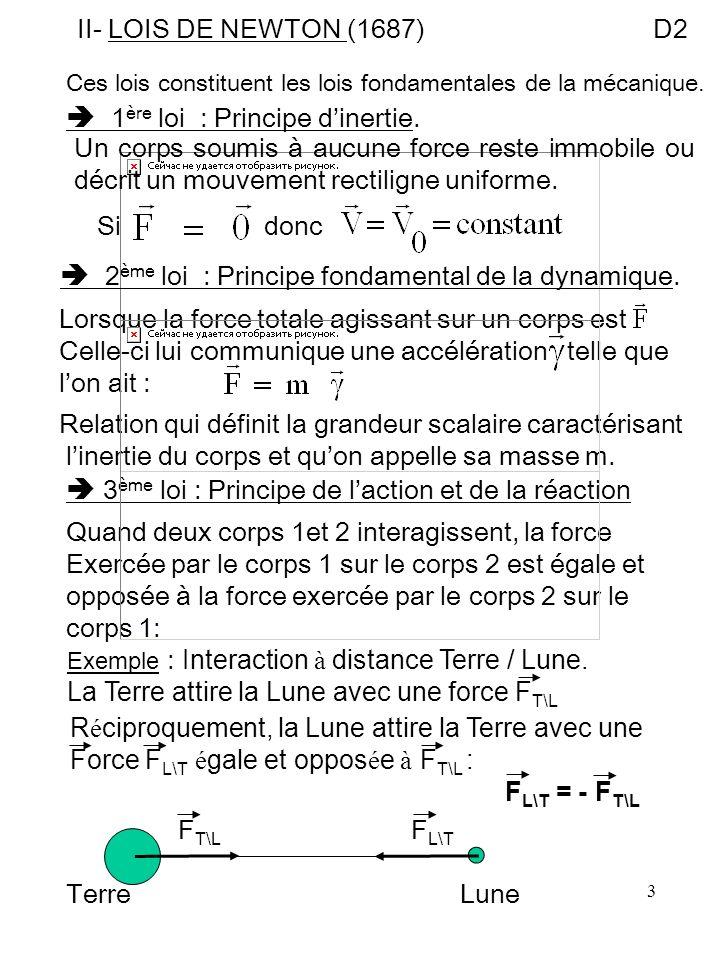  1ère loi : Principe d'inertie.