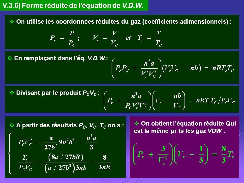 V.3.6) Forme réduite de l équation de V.D.W.