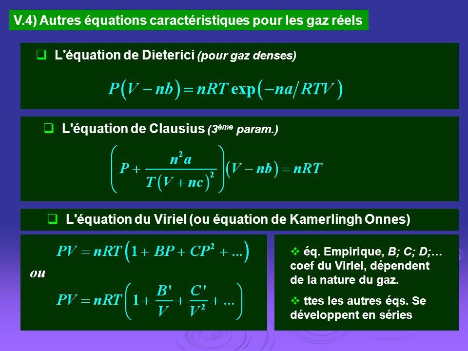 V.4) Autres équations caractéristiques pour les gaz réels