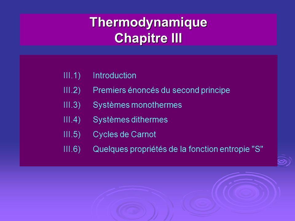 Thermodynamique Chapitre III