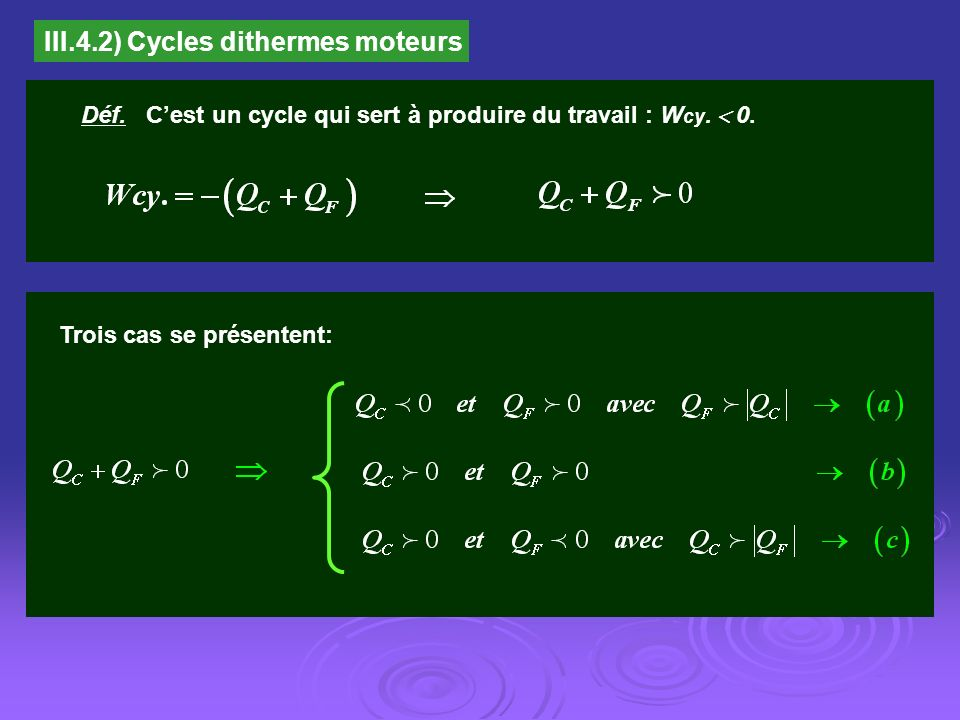 III.4.2) Cycles dithermes moteurs