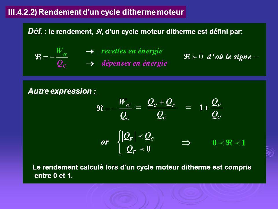 III.4.2.2) Rendement d un cycle ditherme moteur