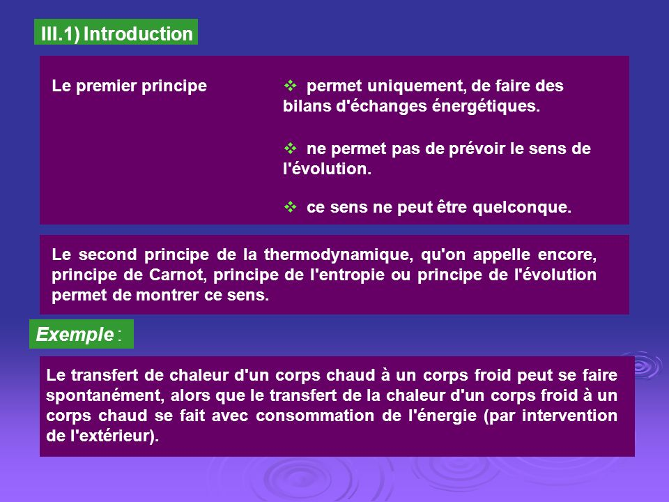 III.1) Introduction Exemple : Le premier principe