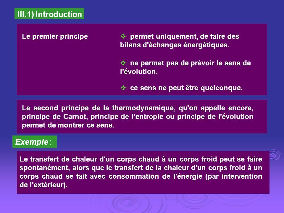 III.1) Introduction Exemple : Le premier principe