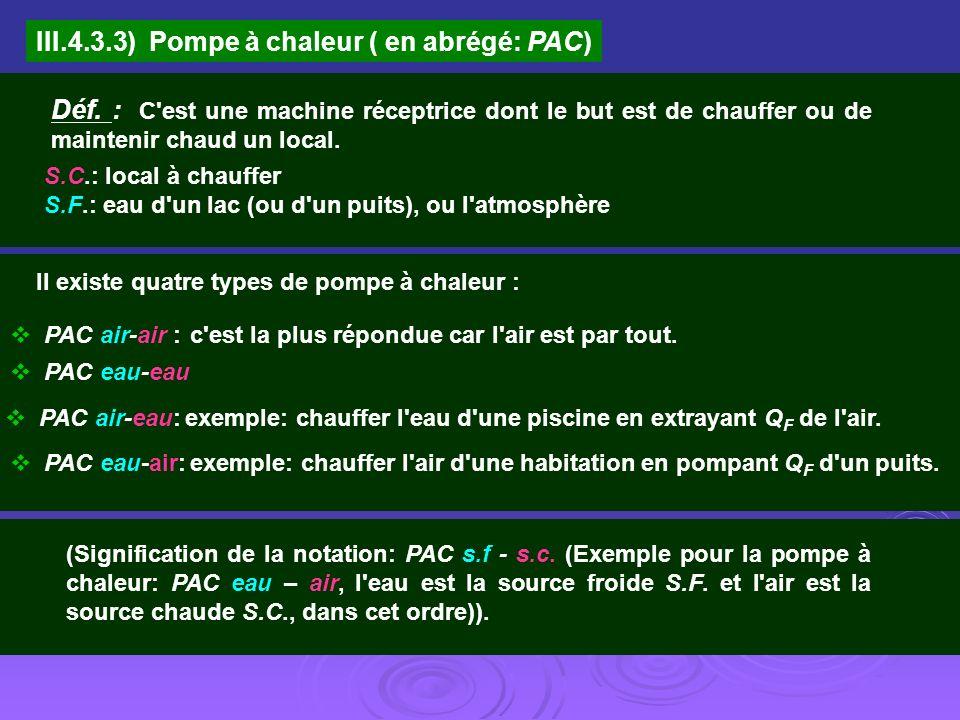III.4.3.3) Pompe à chaleur ( en abrégé: PAC)