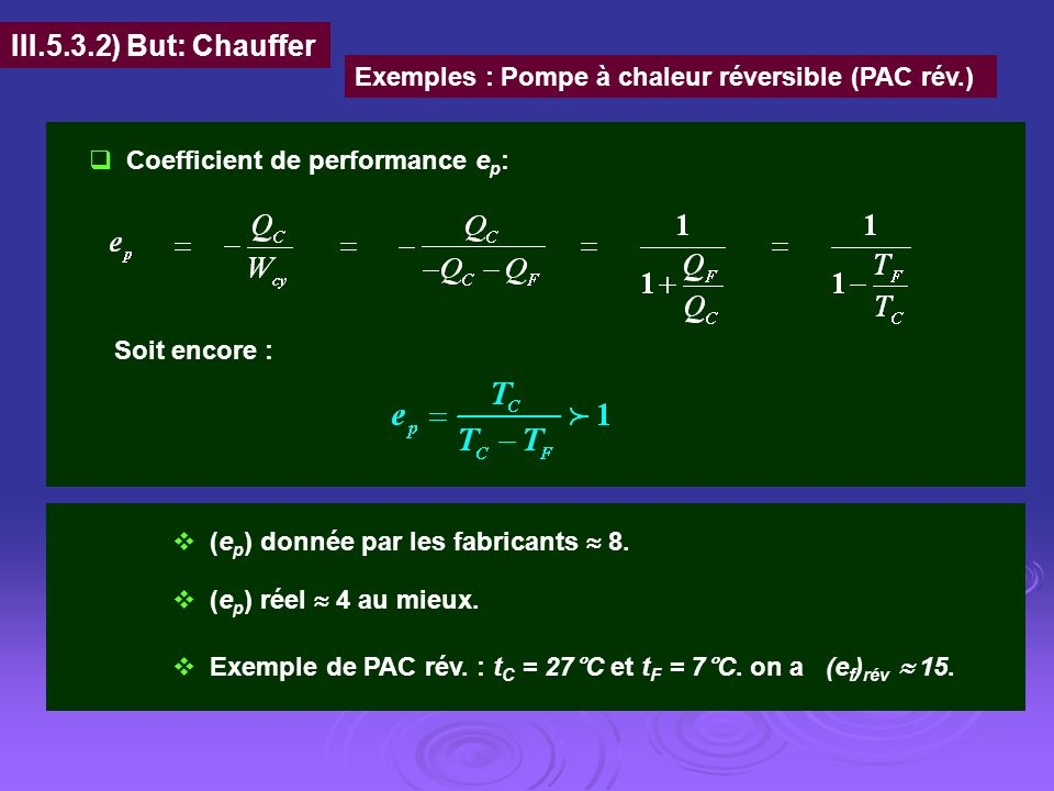III.5.3.2) But: Chauffer Exemples : Pompe à chaleur réversible (PAC rév.) Coefficient de performance ep: