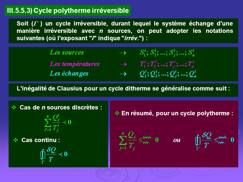 III.5.5.3) Cycle polytherme irréversible