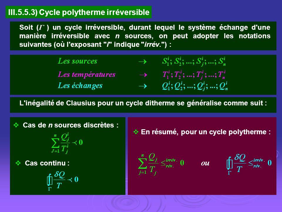 III.5.5.3) Cycle polytherme irréversible