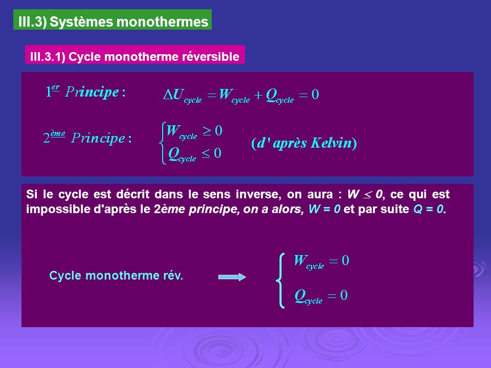 III.3) Systèmes monothermes