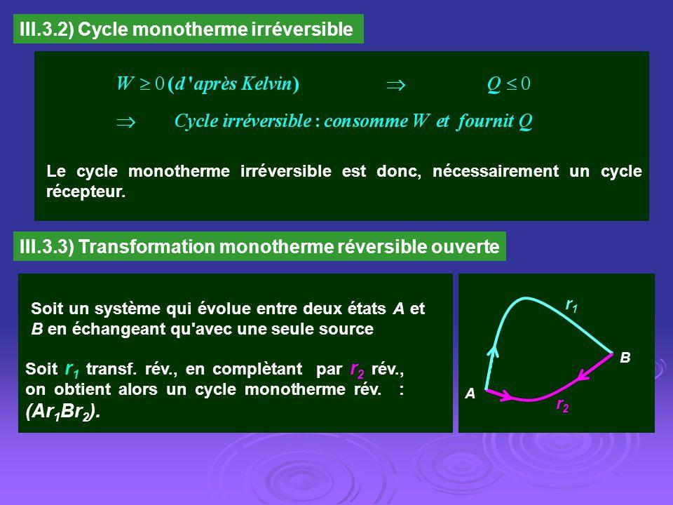 III.3.2) Cycle monotherme irréversible