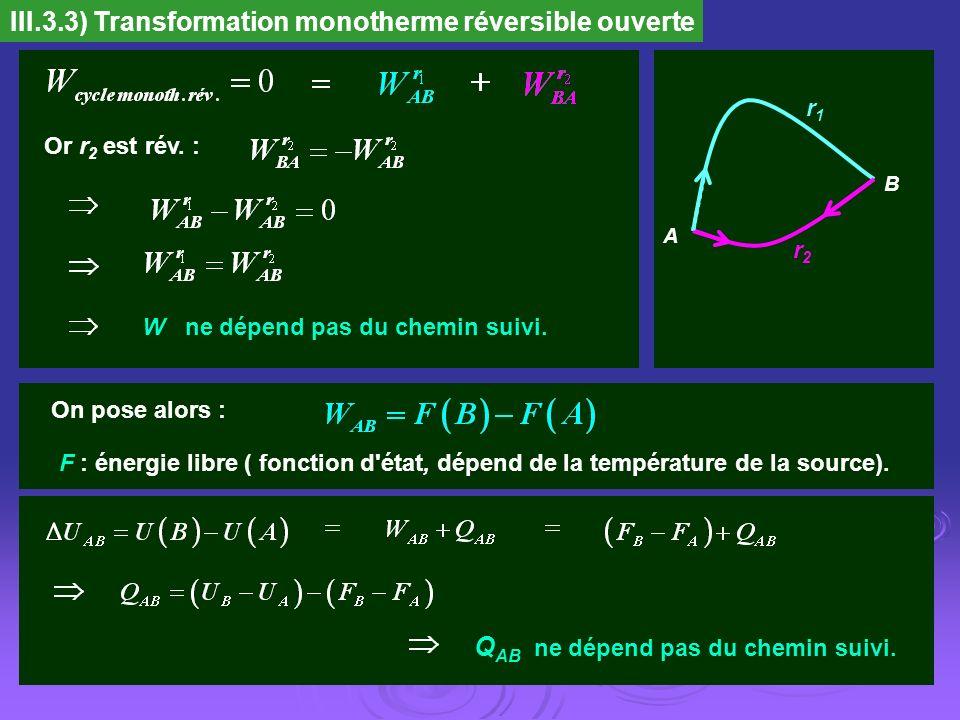III.3.3) Transformation monotherme réversible ouverte